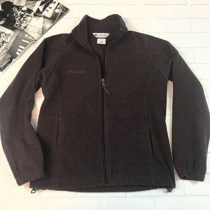 Columbia Fleece Jacket Sweater full zip brown top